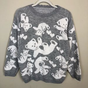 Vintage 80s 90s Gray Teddy Bear Print Sweater